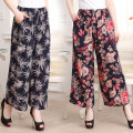 Middle aged and old women's wear Summer of 2018 4XL [recommended 145-165 kg], 2XL [recommended 100-125 kg], 3XL [recommended 125-145 kg] fashion trousers easy singleton  Retro Design 40-49 years old thin Xos16jl310 elastic waist cotton silk skirt New European clothes pocket cotton 7 / 9 pants