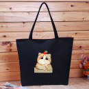 Bag The single shoulder bag canvas Tote Bag Other / other brand new Fashion trend large leisure time soft zipper yes Animal design Double root One shoulder hand Yes youth Horizontal square printing Soft handle polyester fiber Clip zipper pocket Cat Series