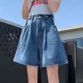 Jeans Summer 2020 Blue Capris S M L XL shorts High waist Wide legged trousers routine 18-24 years old Old wash white zipper button Thin denim light colour Murry Tess 96% and above Cotton 87% viscose 7% others 6% Pure e-commerce (online only)