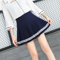 skirt Summer 2020 XS,S,M,L,XL,XXL White, black, Navy, pink Short skirt Sweet High waist Pleated skirt stripe Type A 91% (inclusive) - 95% (inclusive) knitting polyester fiber college