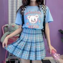 skirt Summer 2020 M,XL,L,S sky blue Short skirt Versatile Natural waist Pleated skirt lattice Type A 18-24 years old 30% and below other cotton