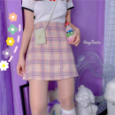 skirt Summer 2020 S,M,L Pink Short skirt Versatile Natural waist 18-24 years old 30% and below