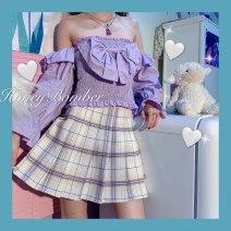 skirt Summer 2020 S,M,L Purple apricot Short skirt Versatile Natural waist Pleated skirt 18-24 years old 30% and below