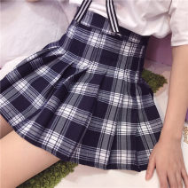 skirt Fall 2017 S,M,L (dark blue check) Short skirt Sweet High waist Pleated skirt lattice Type A 18-24 years old 30% and below solar system