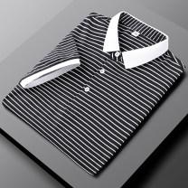 Polo shirt Other / other Youth fashion thin grey , claret , black , orange M,L,XL,2XL,3XL,4XL Self cultivation business affairs summer Short sleeve ALG - PL9915 like a breath of fresh air routine teenagers 2021 stripe polyester fiber rivet