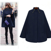 woolen coat Autumn of 2019 Average size Dark blue, camel Pashmina  81% (inclusive) - 90% (inclusive) have more cash than can be accounted for street Buckle stand collar Solid color Cape type JOLOUN Solid color polyester fiber Europe and America