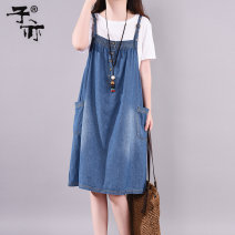 Dress Summer of 2019 Denim blue Average size Middle-skirt singleton  Sleeveless commute other Loose waist Solid color other A-line skirt other camisole 30-34 years old Type A Ziyi Korean version Pocket strap button JY6129 More than 95% cotton Cotton 100% Pure e-commerce (online only)