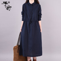 Dress Autumn of 2019 Red Navy Brown M L XL XXL XXXL Mid length dress singleton  Long sleeves commute Polo collar Elastic waist Solid color other A-line skirt routine Others 30-34 years old Type A Ziyi literature Pocket lace up button DYL6589 51% (inclusive) - 70% (inclusive) cotton