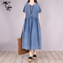 Dress Summer 2021 Light blue dark blue Average size Mid length dress singleton  Short sleeve commute Crew neck Loose waist Solid color other A-line skirt routine Others 30-34 years old Type A Ziyi Korean version Pocket panel button YZ8956 More than 95% Denim cotton Cotton 100%