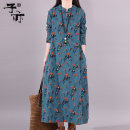 Dress Autumn of 2019 Yellow blue M L XL longuette singleton  Long sleeves commute Crew neck Loose waist Broken flowers other other routine Others 30-34 years old Ziyi literature Pocket print YB6748 More than 95% cotton Cotton 100% Pure e-commerce (online only)