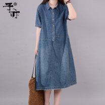Dress Summer of 2018 Denim blue M L XL S Mid length dress singleton  Short sleeve commute Polo collar Loose waist Solid color Single breasted routine 25-29 years old Ziyi Korean version Pocket buttons More than 95% cotton Cotton 100% Pure e-commerce (online only)