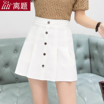skirt Spring of 2019 S M L XL XXL Black and white Short skirt commute High waist Pleated skirt Solid color Type A 18-24 years old 91% (inclusive) - 95% (inclusive) Chiffon Digression polyester fiber Korean version Polyester fiber 94% polyurethane elastic fiber (spandex) 6%