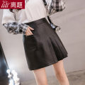 skirt Autumn 2020 S M L XL XXL Black apricot Short skirt commute High waist Pleated skirt Solid color Type A 18-24 years old More than 95% other Digression other Fold pocket asymmetry Korean version PU Pure e-commerce (online only)