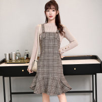Dress Winter 2020 Gag S M L XL XXL Mid length dress singleton  Sleeveless Sweet square neck High waist lattice zipper Ruffle Skirt routine straps 25-29 years old Type A Digression Lace strap zipper LT-D5290 More than 95% Wool polyester fiber Polyester 100% college Pure e-commerce (online only)