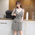 Dress Winter 2020 Gag S M L XL XXL Short skirt singleton  Sleeveless commute V-neck High waist lattice double-breasted A-line skirt routine straps 25-29 years old Type A Digression Korean version Pocket button LT-D5296 71% (inclusive) - 80% (inclusive) Wool polyester fiber Polyester 80% other 20%