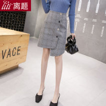 skirt Winter of 2019 S M L XL XXL Greige, chage Short skirt commute High waist Irregular lattice Type A 18-24 years old LT-D5079 More than 95% Wool Digression polyester fiber Asymmetric button Korean version Polyester 100% Pure e-commerce (online only)