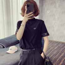 T-shirt Black, white Average size Spring 2021 Short sleeve stand collar easy Regular routine street other 86% (inclusive) -95% (inclusive) 25-29 years old classic Letters, color matching, splicing CNSY0313B02 Printing, splicing Europe and America