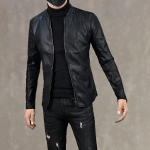 Jacket Other / other Fashion City Black, black plush M,L,XL,2XL,3XL,4XL routine Self cultivation Other leisure autumn Long sleeves Wear out stand collar Youthful vigor youth routine Zipper placket 2017 Straight hem No iron treatment Closing sleeve Solid color PU leather other