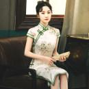 cheongsam Spring 2021 XL,L,M,XXXL,XXL,S JQZ243,JQZ244 Short sleeve long cheongsam lady Low slit daily Oblique lapel Decor 18-25 years old Piping SH cool sound Ruyun silk