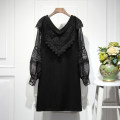 Dress Winter of 2019 black M,L,XL,2XL,3XL Mid length dress singleton  Long sleeves commute V-neck Solid color A-line skirt bishop sleeve Ol style Hollowed out, stitched
