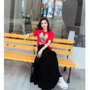 Dress Summer of 2018 S M L XL longuette Two piece set Short sleeve commute Crew neck Elastic waist Solid color Socket Big swing routine 25-29 years old Type A Fish surplus Korean version printing More than 95% cotton Cotton 100% Pure e-commerce (online only)