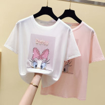 T-shirt White, pink Summer 2020 Short sleeve Crew neck Self cultivation routine commute cotton 96% and above 18-24 years old Korean version originality Cartoon animation