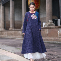 Women's large Autumn of 2019 40 yards / 130 catties, 44 yards / 160 catties, 48 yards / 180 catties, 52 yards / 200 catties, 54 yards / 250 catties Dress singleton  commute easy moderate Socket Long sleeves Hand painted plants and flowers ethnic style other Medium length Cotton and hemp other