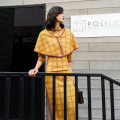 cheongsam Autumn 2020 S,L,XXL,XL,XXXL,M The blue check suede is elastic when it is larger than one size, and the Yellow check suede is elastic when it is larger than one size three quarter sleeve long cheongsam Retro High slit daily Oblique lapel lattice Piping Lotus flag bamboo slips