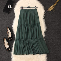 skirt Summer 2021 Average size Black, Navy, white, dark green, coffee longuette commute High waist Cake skirt Solid color Type A Pleating, folding, stitching Simplicity