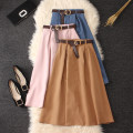 skirt Summer 2020 Average size Black, khaki, dark green, dark blue, apricot, pink, denim Mid length dress commute High waist A-line skirt Solid color Type A Chiffon cotton Pleats, lace UPS, buttons Korean version