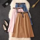 skirt Summer 2020 Average size Black, khaki, dark green, dark blue, apricot, pink, denim Mid length dress commute High waist A-line skirt Solid color Type A Chiffon cotton Pleats, lace UPS, buttons Korean version