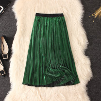 skirt Spring 2020 Average size Gold, green, red, silver, black Mid length dress commute High waist Pleated skirt Solid color Type A other Pleating, bright silk Korean version