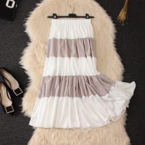 skirt Summer 2020 Average size Black, blue, light pink longuette fresh High waist Cake skirt stripe Type A Chiffon cotton Splicing