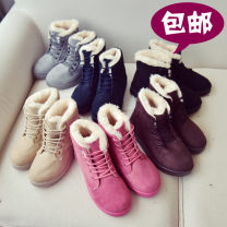 Boots 35,36,37,38,39,40 Black, blue, off white, grey, brown Suede Other / other Low heel (1-3cm) Flat bottom Suede Short tube Round head Artificial short plush Artificial short plush Winter of 2019 Anterior frenulum college Snow boots Youth (18-40 years old), children (under 18 years old) winter