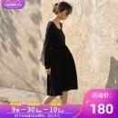 Dress Itonia / itona black M L XL other Long sleeves Medium length spring Solid color polyester fiber