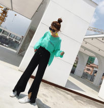 Casual pants Grey black Average size Autumn of 2018 trousers Flared trousers High waist Versatile Thin money 25-29 years old cotton
