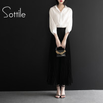 Fashion suit Summer of 2019 M L XL XXL one size fits all White top and black bottom suit 25-35 years old Sottle / sotile SOT137441 96% and above Polyethylene terephthalate (polyester) 100% Pure e-commerce (online only)