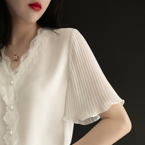 Lace / Chiffon Summer 2020 Pink white yellow M L XL XXL XXXL Short sleeve commute Socket singleton  easy Regular V-neck Solid color pagoda sleeve 25-29 years old Sottle / sotile SOT138522 Three dimensional decorative button lace with ruffle stitching Korean version 96% and above Polyester 100%