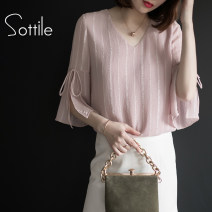 Lace / Chiffon Summer of 2019 White, blue, pink M L XL XXL three quarter sleeve commute Socket singleton  easy Regular V-neck Solid color pagoda sleeve 25-29 years old Sottle / sotile Korean version 96% and above Polyester 100% Pure e-commerce (online only)