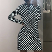 Dress Winter 2020 black S,M,L Middle-skirt singleton  street High waist letter zipper Pencil skirt Others 18-24 years old printing T0518 71% (inclusive) - 80% (inclusive) other polyester fiber Europe and America