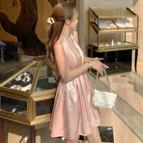 Dress Summer 2021 Pink S,M,L Short skirt singleton  commute V-neck High waist Solid color Socket A-line skirt Hanging neck style 25-29 years old Type A Korean version 31% (inclusive) - 50% (inclusive)