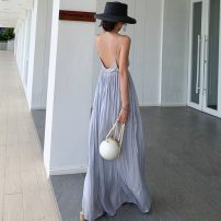 Dress Summer 2021 Psychedelic ash S,M,L longuette singleton  commute V-neck High waist Solid color Socket Big swing camisole 25-29 years old Type A Korean version 31% (inclusive) - 50% (inclusive) polyester fiber