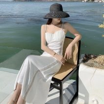 Dress Summer 2021 White shell S,M,L,XL longuette singleton  Sleeveless commute V-neck middle-waisted Solid color Socket A-line skirt routine camisole Type A Retro 91% (inclusive) - 95% (inclusive) Silk and satin polyester fiber