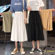 skirt Summer of 2019 Average size Light green, khaki, black, white longuette commute High waist A-line skirt Solid color Type A 18-24 years old B Other / other other Korean version