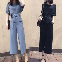 Women's large Summer 2021 Blue, black Other oversize styles Two piece set commute easy moderate Socket Short sleeve Solid color Korean version Crew neck routine Three dimensional cutting routine belt 31% (inclusive) - 50% (inclusive) Ninth pants bow other