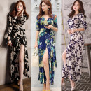 Dress Summer 2017 Black, red, blue, brown, gray, yellow, green, white, black, red, pink S,M,L,XL longuette singleton  three quarter sleeve Sweet V-neck middle-waisted Decor other other routine Others 25-29 years old Type A Frenulum 71% (inclusive) - 80% (inclusive) brocade Bohemia