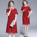 Dress Summer of 2019 Red, all in stock S,M,L,XL,2XL longuette singleton  Short sleeve street Crew neck Loose waist Solid color A-line skirt routine Type A Europe and America