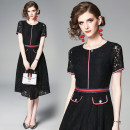 Dress Summer of 2019 black S,M,L,XL,2XL Mid length dress singleton  Short sleeve commute Crew neck middle-waisted Solid color other Princess Dress routine Others 30-34 years old Type A Retro 81% (inclusive) - 90% (inclusive) Lace nylon
