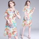Dress Summer of 2019 Design and color (two piece set), full size stock, XXL, weight 0.39kg S,M,L,XL,2XL longuette Two piece set Short sleeve street Crew neck Loose waist Decor A-line skirt Type A Europe and America