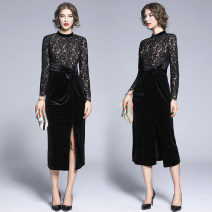 Dress Autumn of 2019 black S,M,L,XL,2XL longuette singleton  Long sleeves Crew neck middle-waisted Solid color zipper Pencil skirt routine Others Type X Lace, zipper, stitching